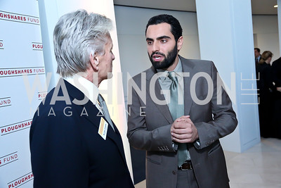 Michael Douglas, Argo actor Farshad Farahat. Photo by Tony Powell. Ploughshares Fund Gala 2013. Institute of Peace. October 28, 2013