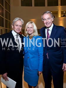 Michael Douglas, Admiral Susan Blumenthal and Sen. Ed Markey. Photo by Tony Powell. Ploughshares Fund Gala 2013. Institute of Peace. October 28, 2013