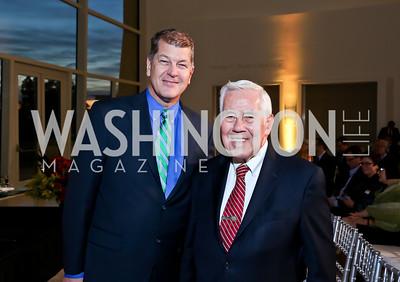 Steve Clemons, Ret. Sen. Richard Lugar. Photo by Tony Powell. Ploughshares Fund Gala 2013. Institute of Peace. October 28, 2013