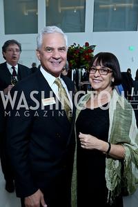 Joe Cirincione and Priscilla Labovitz. Photo by Tony Powell. Ploughshares Fund Gala 2013. Institute of Peace. October 28, 2013