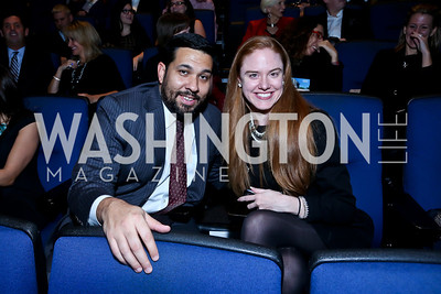 Ray Casas, Jessica Moore. Photo by Tony Powell. Anchorman II Q&A. Newseum. December 3, 2013