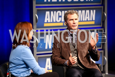 Ann Hornaday, Will Ferrell. Photo by Tony Powell. Anchorman II Q&A. Newseum. December 3, 2013