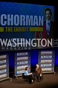Ann Hornaday, Will Ferrell. Photo by Tony Powell. Anchorman II Q&A. Newseum. December 3, 2013