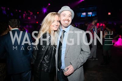 Josh Kriger, Veronica Karpova. Photo by Alfredo Flores. Art Soiree 4th Annual Winter Wonderland Show. Echostage‏. December 8, 2013.