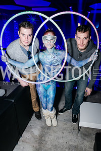 Philip Masone, Keely Madison, Ian Masone. Photo by Alfredo Flores. Art Soiree 4th Annual Winter Wonderland Show. Echostage‏. December 8, 2013.