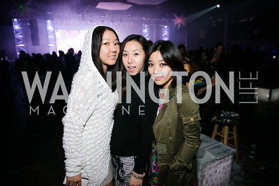 Liv Han, Sodia Joo, Jemma Yun. Photo by Alfredo Flores. Art Soiree 4th Annual Winter Wonderland Show. Echostage‏. December 8, 2013.