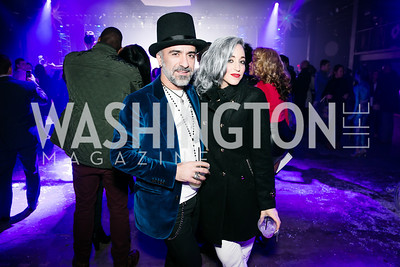 Ismail Telah, Rose DiFerdinando. Photo by Alfredo Flores. Art Soiree 4th Annual Winter Wonderland Show. Echostage‏. December 8, 2013.