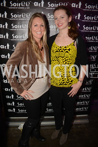 "Faith Grant, Erica Sivertson,  Art Soiree hosts ""First-Term Retrospective"", a collection of critically acclaimed editorial cartoons.  MalMaison, Georgetown.  Photo by Ben Droz."