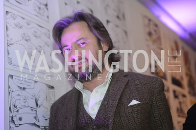 "Art Soiree hosts ""First-Term Sandro Keresa,  Retrospective"", a collection of critically acclaimed editorial cartoons.  MalMaison, Georgetown.  Photo by Ben Droz."