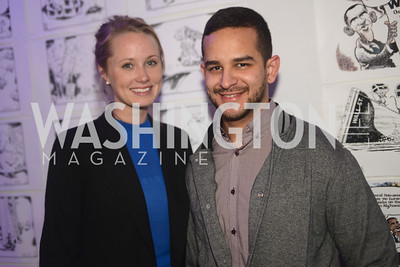 "Andres Restrepo, Katie Fraas,  Art Soiree hosts ""First-Term Retrospective"", a collection of critically acclaimed editorial cartoons.  MalMaison, Georgetown.  Photo by Ben Droz."