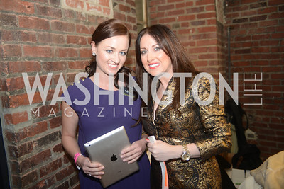 "Bridget Groves, Eya Kereselidze,  Art Soiree hosts ""First-Term Retrospective"", a collection of critically acclaimed editorial cartoons.  MalMaison, Georgetown.  Photo by Ben Droz."