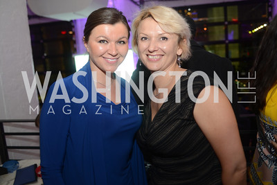 "Alina Zarr, Irina Prosak, Art Soiree hosts ""First-Term Retrospective"", a collection of critically acclaimed editorial cartoons.  MalMaison, Georgetown.  Photo by Ben Droz."