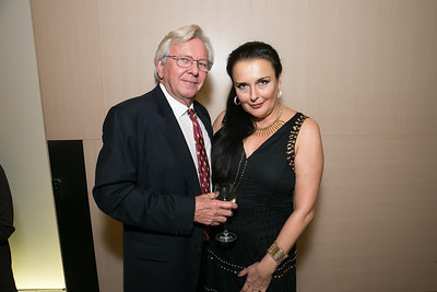 Bill Dunlap, Rhoda Septilici. Photo by Alfredo Flores. Arts for the Aging 25th Anniversary Visions of Gold Gala.  Swiss Ambassador's residence. November 5, 2013