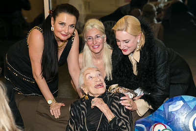 Gabriela Coman, Rhoda Septilici, Lolo Sarnoff, Christine Wamke. Photo by Alfredo Flores. Arts for the Aging 25th Anniversary Visions of Gold Gala.  Swiss Ambassador's residence. November 5, 2013