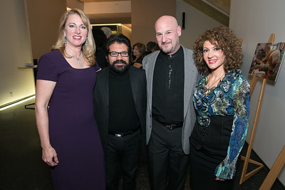 Jennifer Suess, Carlos Rodriguez, Peter Borroughs, Randa Rouweyha. Photo by Alfredo Flores. Arts for the Aging 25th Anniversary Visions of Gold Gala.  Swiss Ambassador's residence. November 5, 2013