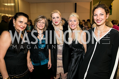 Rhoda Septilici, Christine Sager, Christine Wamke, Gabriela Coman, Emily Nestler. Photo by Alfredo Flores. Arts for the Aging 25th Anniversary Visions of Gold Gala.  Swiss Ambassador's residence. November 5, 2013