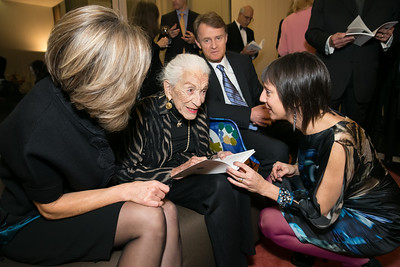 Christine Sager, Lolo Sarnoff, Janine Tursini, Amb. Manuel Sager. Photo by Alfredo Flores. Arts for the Aging 25th Anniversary Visions of Gold Gala.  Swiss Ambassador's residence. November 5, 2013