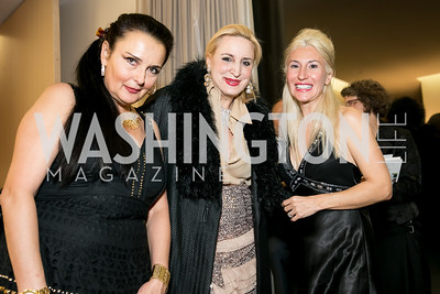 Rhoda Septilici, Christine Wamke, Gabriela Coman. Photo by Alfredo Flores. Arts for the Aging 25th Anniversary Visions of Gold Gala.  Swiss Ambassador's residence. November 5, 2013