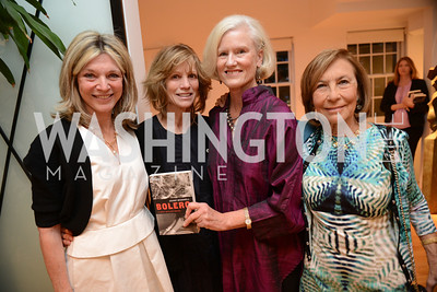 "Kay Kendall, Myra Moffett, Caroline Croft, Susan Rappaport, Book Party for ""Bolero"" by  Joanie McDonnell.   Hosted at the home of Jack Davies and Kay Kendall.  Friday, April 26th.  Photo by Ben Droz"