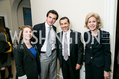 Lady Westmacott, Oliver Westmacott, Vali Nasr, Ann Nitze. Photo by Alfredo Flores. Book Party for Dr. Vali Nasr's The Dispensable Nation. Ann and Bill Nitze Residence. May 13, 2013
