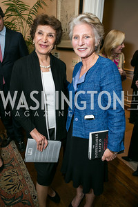 Mahnaz Afkhami, Jane Harman. Photo by Alfredo Flores. Book Party for Dr. Vali Nasr's The Dispensable Nation. Ann and Bill Nitze Residence. May 13, 2013