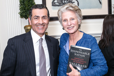 Vali Nasr, Jane Harman. Photo by Alfredo Flores. Book Party for Dr. Vali Nasr's The Dispensable Nation. Ann and Bill Nitze Residence. May 13, 2013