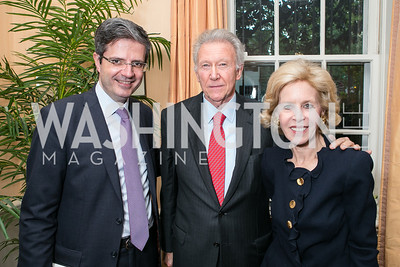 Francois Delattre, Jim Hoagland, Ann Nitze. Photo by Alfredo Flores. Book Party for Dr. Vali Nasr's The Dispensable Nation. Ann and Bill Nitze Residence. May 13, 2013