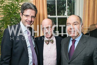 Francois Delattre, Finlay Lewis, Mauro Vieira. Photo by Alfredo Flores. Book Party for Dr. Vali Nasr's The Dispensable Nation. Ann and Bill Nitze Residence. May 13, 2013