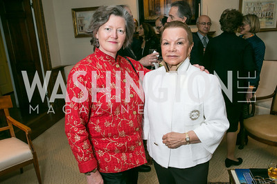 Amanda Downes, Ruthie Leffall. Photo by Alfredo Flores. Book Party for Dr. Vali Nasr's The Dispensable Nation. Ann and Bill Nitze Residence. May 13, 2013