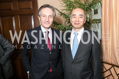 Claudio Bisogniero, Kenichiro Sasae. Photo by Alfredo Flores. Book Party for Dr. Vali Nasr's The Dispensable Nation. Ann and Bill Nitze Residence. May 13, 2013