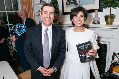 Vali Nasr, Amal Mudallali. Photo by Alfredo Flores. Book Party for Dr. Vali Nasr's The Dispensable Nation. Ann and Bill Nitze Residence. May 13, 2013