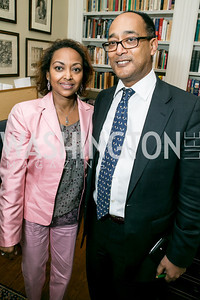 Saba Kebede, Ermias Sahle-Selassie. Photo by Alfredo Flores. Book Party for Dr. Vali Nasr's The Dispensable Nation. Ann and Bill Nitze Residence. May 13, 2013