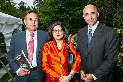 Husain Haqqani, Farah Haqqani, Yousef Al Otaiba. Book Party for Dr. Vali Nasr's The Dispensable Nation. Liaquat and Meena Ahamed Residence. May 14, 2013