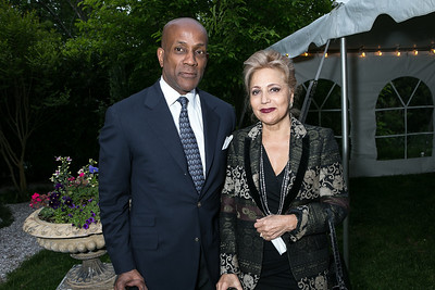 Andre Spearman, Sara Assar. Book Party for Dr. Vali Nasr's The Dispensable Nation. Liaquat and Meena Ahamed Residence. May 14, 2013