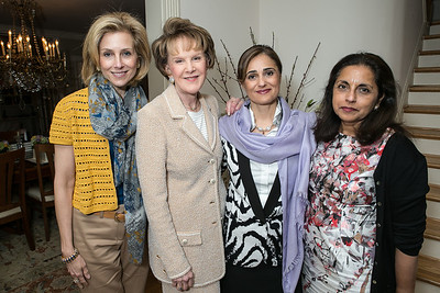 Katherine Bradley, Margaret Warner, Darya Nasr, Meena Ahamed. Book Party for Dr. Vali Nasr's The Dispensable Nation. Liaquat and Meena Ahamed Residence. May 14, 2013.