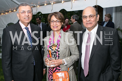 Shuja Nawaz, Seema Nawaz, Liaquat Ahamed. Book Party for Dr. Vali Nasr's The Dispensable Nation. Liaquat and Meena Ahamed Residence. May 14, 2013