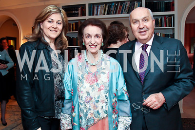 Nicole Saba, Lucky Roosevelt, Lebanon Amb. Antoine Chedid. Photo by Tony Powell. Lucky Roosevelt book party for Marie Arana. April 23, 2013