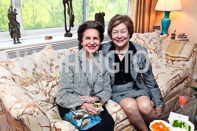 Marta Istomin, Elizabeth Lodal. Photo by Tony Powell. Lucky Roosevelt book party for Marie Arana. April 23, 2013