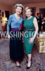Diana Negroponte, Adrienne Arsht. Photo by Tony Powell. Lucky Roosevelt book party for Marie Arana. April 23, 2013