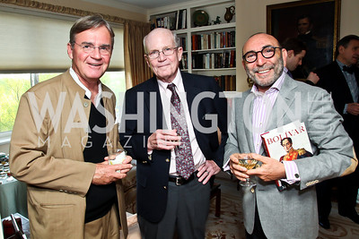 Kai Bird, Jonathan Yardley, Dani Levinas. Photo by Tony Powell. Lucky Roosevelt book party for Marie Arana. April 23, 2013