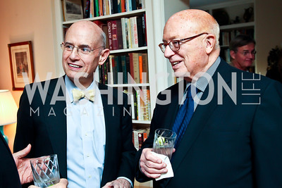 Bill Nitze, Joe Duffey. Photo by Tony Powell. Lucky Roosevelt book party for Marie Arana. April 23, 2013
