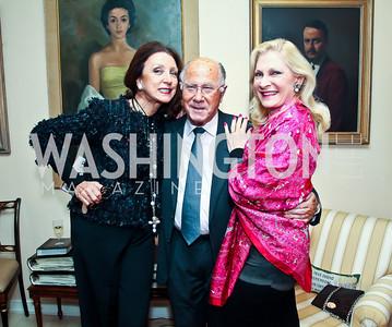 Aniko Gaal Schott, Arnaud de Borchgrave, Susan Pillsbury. Photo by Tony Powell. Lucky Roosevelt book party for Marie Arana. April 23, 2013