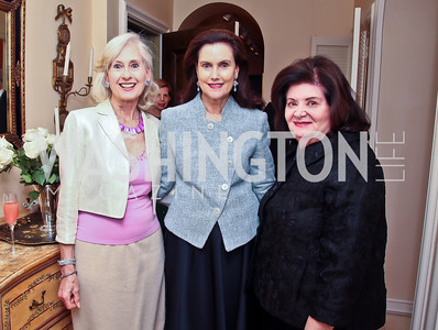 Willee Lewis, Alexandra de Borchgrave, Nancy Howar. Photo by Tony Powell. Lucky Roosevelt book party for Marie Arana. April 23, 2013