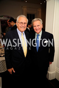 Former Sec.of Def.Donald Rumsfeld,  Emmett Tyrrell, May 7,2013, Book Party for'' Rumsfelds Rules''Kyle Samperton