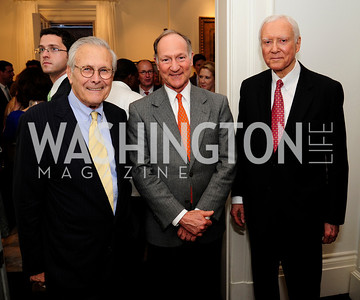 Former Sec.of Def.Donald Rumsfeld, Bothwell Lee.Sen.Orrin Hatch, May 7,2013, Book Party for'' Rumsfelds Rules''Kyle Samperton