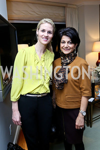 Kat Conlon, Shamim Jawad. Photo by Tony Powell. Breast Cancer Fundraiser for Shinkai Karokhail. Residence of Nancy Brinker. December 17, 2013