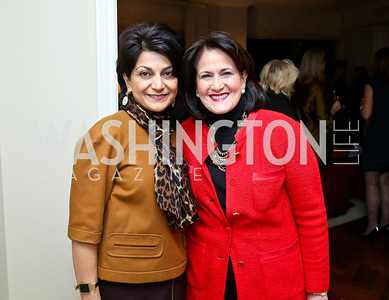 Shamim Jawad, Anita McBride. Photo by Tony Powell. Breast Cancer Fundraiser for Shinkai Karokhail. Residence of Nancy Brinker. December 17, 2013