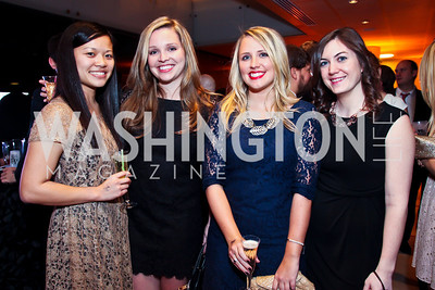 """Patti Pang, Amanda Walters, Brittany Bremer, Catie Finley. Photo by Tony Powell. Children's National Junior Council """"Dancing After Dark."""" House of Sweden. January 26, 2013"""