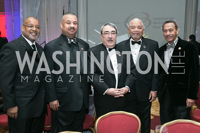 Congressional Black Caucus Foundation COO Keith Wright, Rep. Donald M. Payne, Jr., Rep. G.K. Butterfield, Bill Payne, Rep. Mel Watt. Photo by Alfredo Flores. Congressional Black Caucus Foundation Inaugural Gala & Celebration. Capital Hilton Hotel. January 21, 2013.