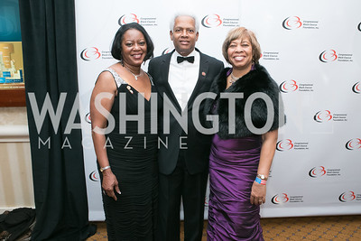 Mereda Johnson, Rep. Henry Johnson Jr., Kathy Register. Photo by Alfredo Flores. Congressional Black Caucus Foundation Inaugural Gala & Celebration. Capital Hilton Hotel. January 21, 2013.